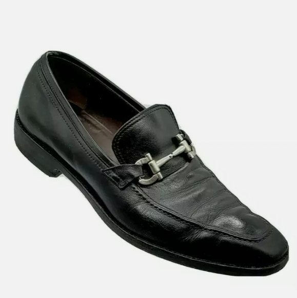 SALVATORE FERRAGAMO  BLACK LEATHER HORSEBIT 7 5